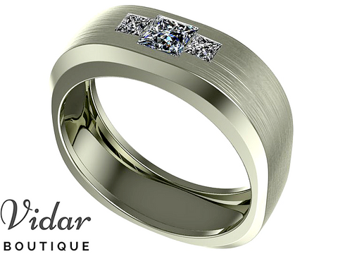 Unique White Gold Diamond Wedding Band For Men