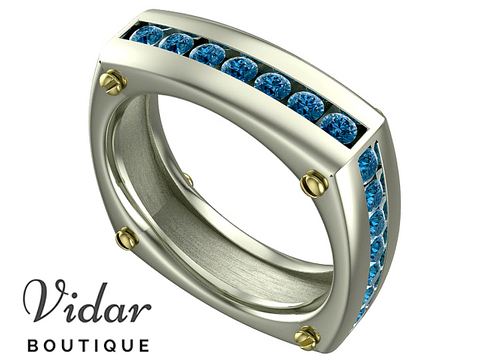 Unique Blue Diamonds Two Tone Gold Wedding Band For Men