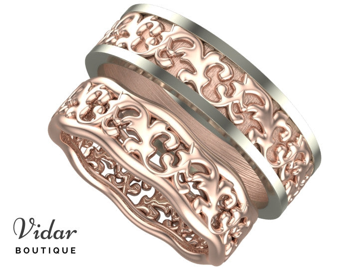 his and hers unique matching wedding rings vidar boutique