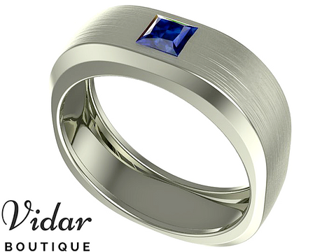 Unique Sapphire Wedding Band For Men
