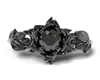 Black Lotus Flower Engagement Ring