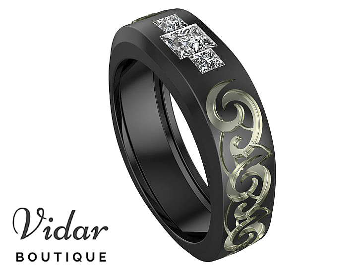 Diamond Tribal Mens Wedding Ring Black Gold Vidar Boutique Vidar
