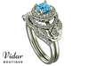 Flower Aquamarine Wedding Ring Set