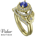 Tanzanite Halo Bridal Ring Set