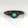 Blue Diamond Gothic Engagement Ring