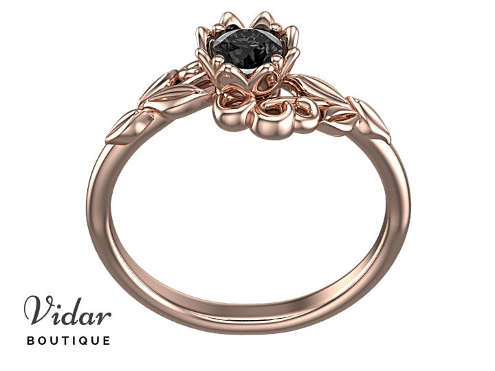 Black Diamond Flower Engagement Ring With LeavesVidar Boutique