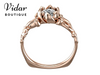 Flower Shaped Solitaire Rose Gold Engagement Rings