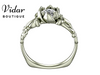 Flower White Gold Solitaire Engagement Ring