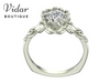 Unique Flower White Gold Solitaire Engagement Ring