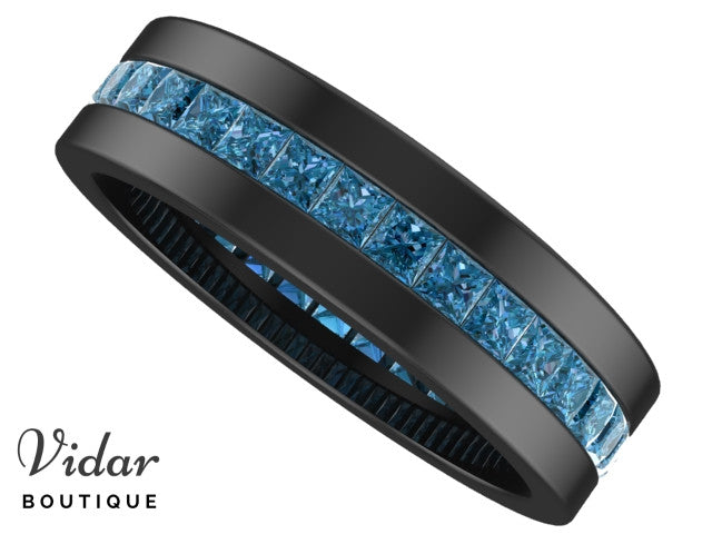 blue diamond wedding band - Blue Diamond Wedding Ring