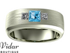 diamond and aquamarine wedding band