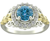 Flower Blue Diamond Engagement Ring