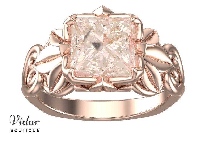 Unique Flower Morganite Engagement Ring With Leaves Vidar