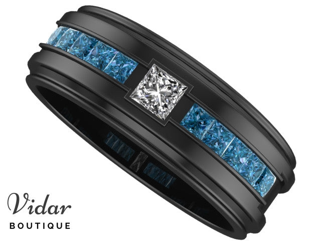 Black Gold White And Blue Diamonds Mens Wedding Band Vidar