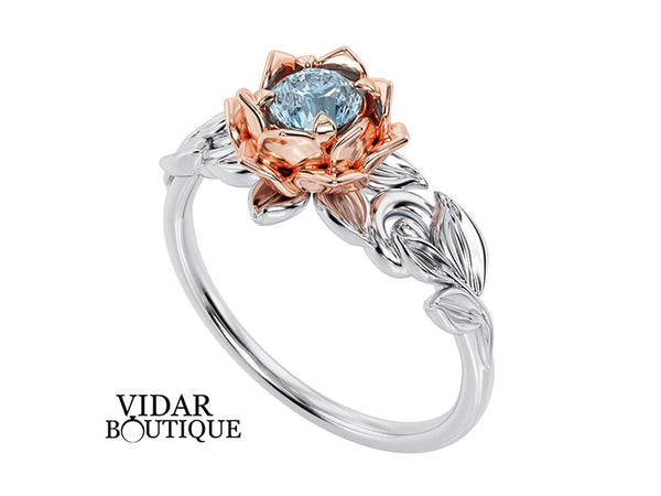 Aquamarine Lotus Flower Engagement Ring