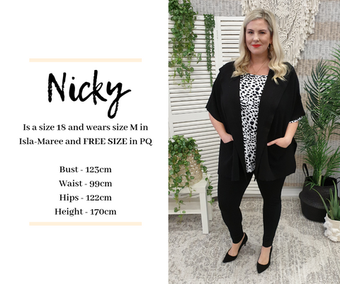 Nicky's Size | Isla-Maree Sizing Guide