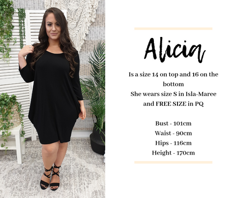 Alicia Sizes | Isla-Maree Sizing Guide
