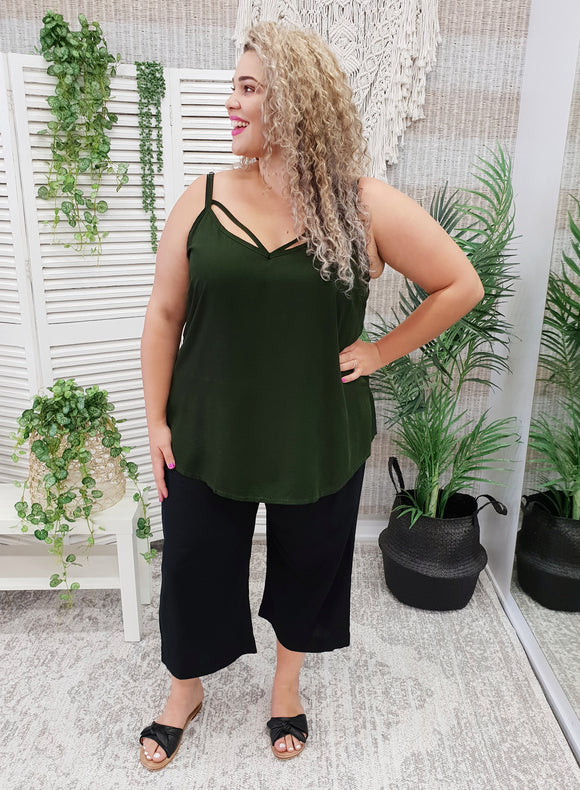 Isla Maree Chloe Cami - Olive - Isla-Maree | Plus Size Clothing NZ