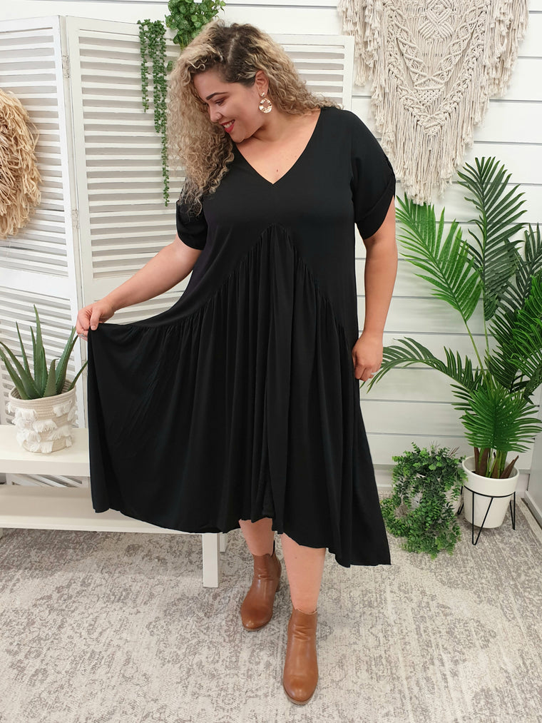 Peak Front Maxi Dress - Black - Isla-Maree | Plus Size Clothing NZ
