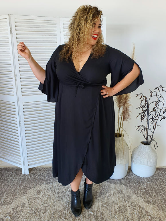 Isla Maree Wrap Dress - Black - Isla-Maree | Plus Size Clothing NZ