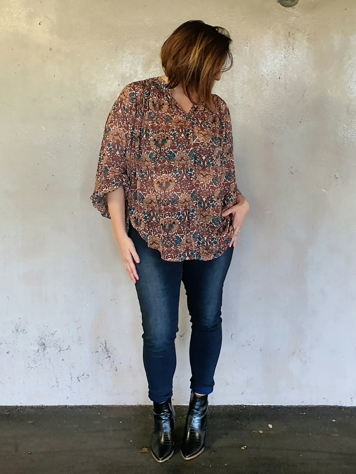 Wuthering Heights Billow Blouse - Mosaic - Isla-Maree | Plus Size Clothing NZ