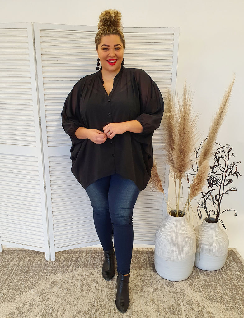 Isla Maree Oversized Shirt - Black - Isla-Maree | Plus Size Clothing NZ