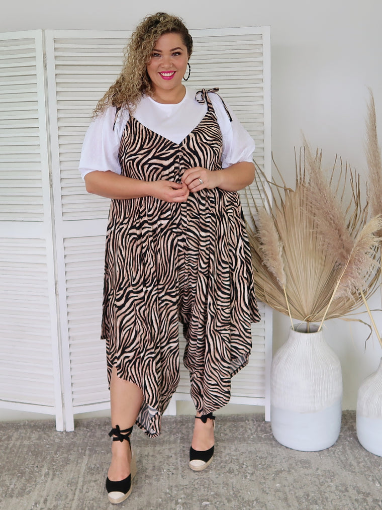 Isla Maree Tie Up Jumpsuit - Zebra - Isla-Maree | Plus Size Clothing NZ