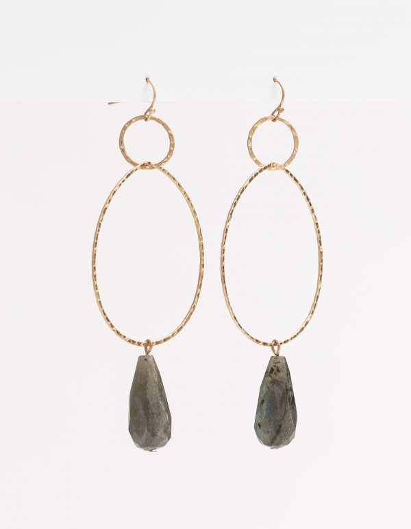 Stella + Gemma Hoop Earrings - Grey Stone - Isla-Maree | Plus Size Clothing NZ