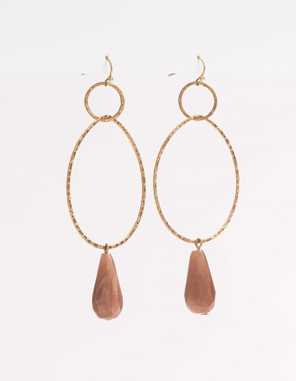 Stella + Gemma Hoop Earrings - Rose Stone - Isla-Maree | Plus Size Clothing NZ