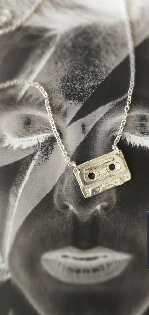 Retro Cassette Tape & Queen Bar layered necklace set