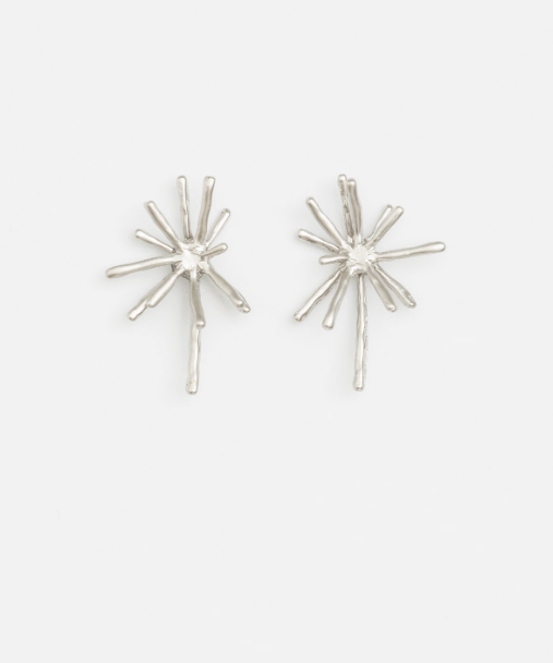 Stella + Gemma Starburst Earrings - Silver - Isla-Maree | Plus Size Clothing NZ