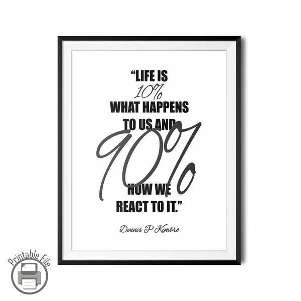 "Dennis P. Kimbro ""How We React"" Printable Motivation Quote"