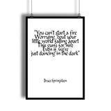 "Bruce Springsteen ""Dancing In The Dark"" Lyrics Art Print"
