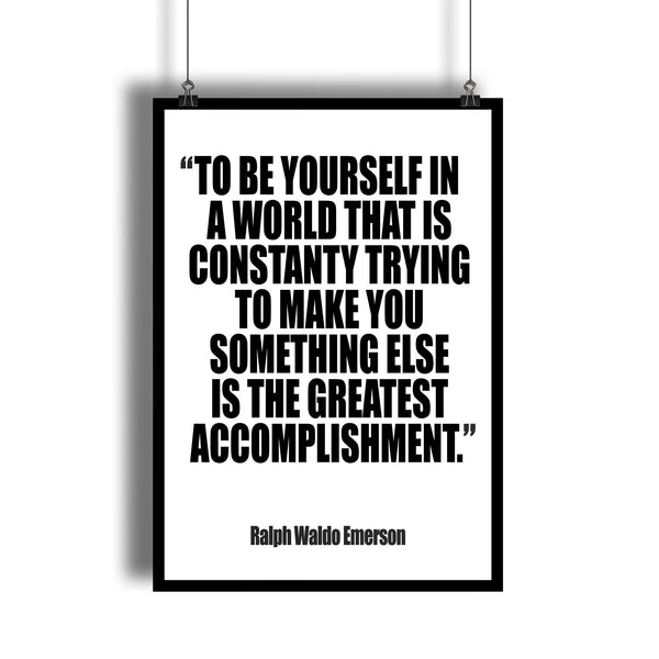 "Ralph Waldo Emerson ""Be Yourself"" Inspirational Quote Art Print - DifferenType"