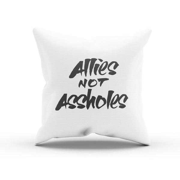 """Allies Not Assholes"" Cheeky Cushion Cover for Unity"