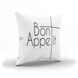 "French Phrase ""Bon Appetit"" Pillow Cover For Restaurants"