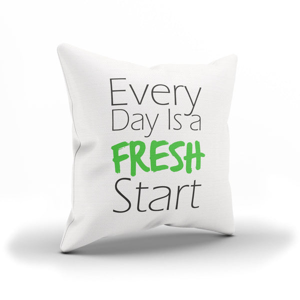 """Everyday is a Fresh Start"" Black and Green Positive Thinking Cushion Cover"