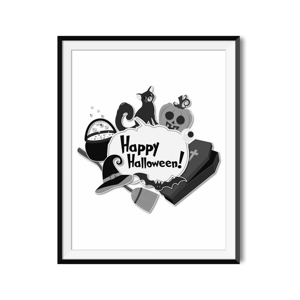 """Happy Halloween"" Downloadable Design Featuring Halloween Symbols"