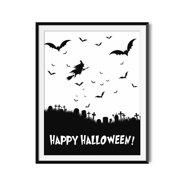 """Happy Halloween"" Black and White Printable Design For Last Minute Decor."