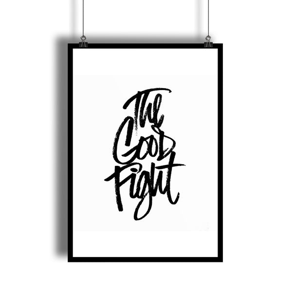 """The Good Fight"" Song Lyrics B&W Poster"