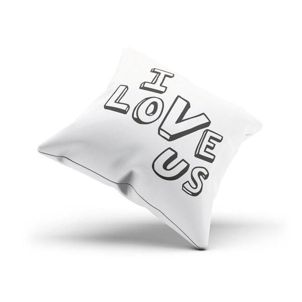 """I Love Us"" Typographic  Canvas Romantic Throw Pillow Cover"
