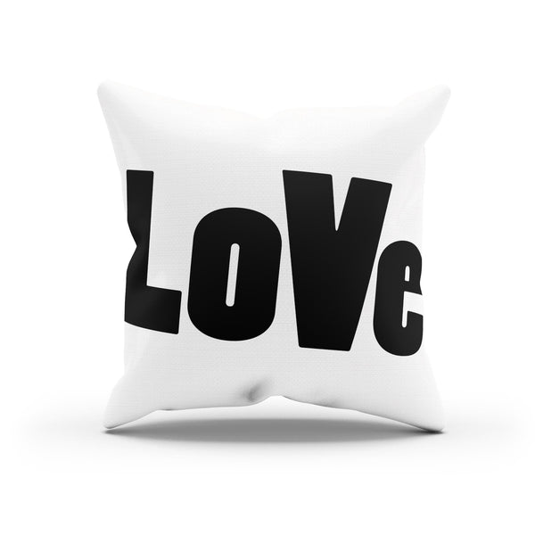 """LoVe"" Typographic  Canvas Throw Pillow Cover By Raz Naim - DifferenType"