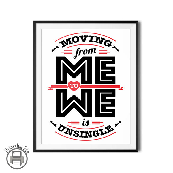 """From Me To We"" Romantic Printable Wall Art For Lovers"