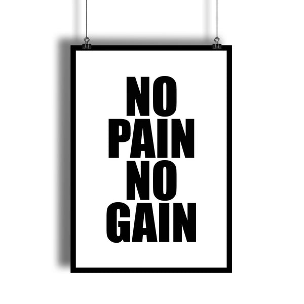 """No Pain No Gain"" Fitness Quote Gym Wall Decor"
