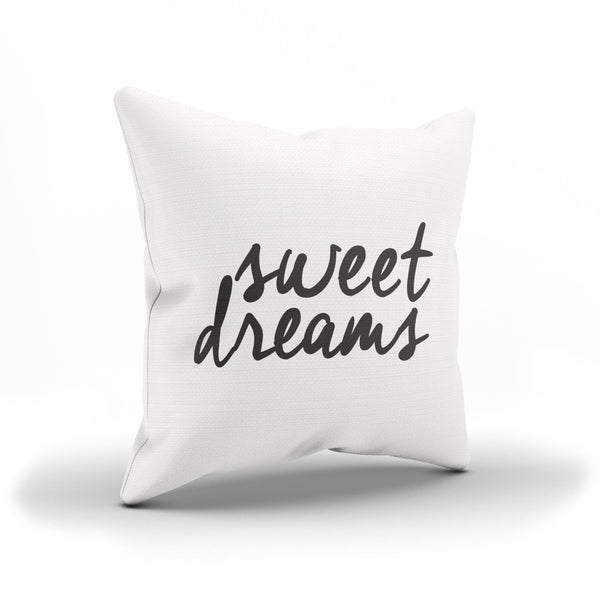 "Minimalistic ""Sweet Dreams"" B&W Throw Pillow Case For Bedroom"