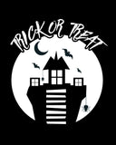 Trick or Treat Spooky House Black & White printable Poster.