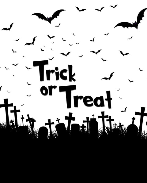 """Trick or Treat"" Graveyard and Bats Printable Design"