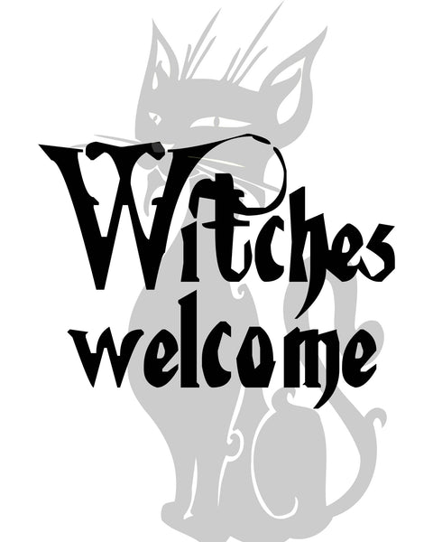 """Witchs Welcome"" Halloween Cat Funny Welcoming Door Sign"