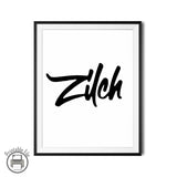 "Nada, Nothing, ""Zilch"" B&W Lettering Printable Art"