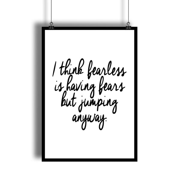 "Taylor Swift ""Fearless"" Calligraphy Quote Poster"